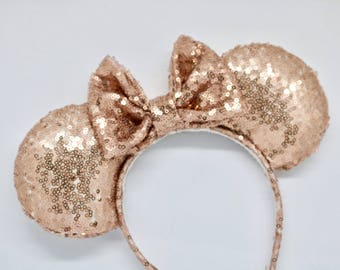 rose gold mouse ears, mouse ears, Minnie Mouse ears, Mickey Mouse ears, disney ears, disneyland ears, sequin mouse ears, sparkly disney ears