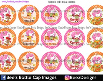 Fall Unicorns- INSTANT DOWNLOAD- 1 Inch Bottle Cap Images