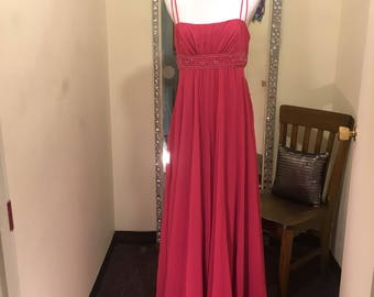 Pink Formal Dress, Floor-Length Beaded Gown, Bridesmaid Dress, Prom dress, Chiffon Dress