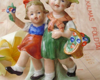 Vintage German porcelain children figurine,dancing little girls