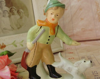 Rare vintage Hungarian  ceramic child figurine,little hunter with dog
