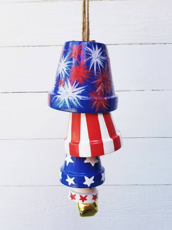 Patriotic terra cotta pot wind chimes red white and blue for Terracotta wind chimes