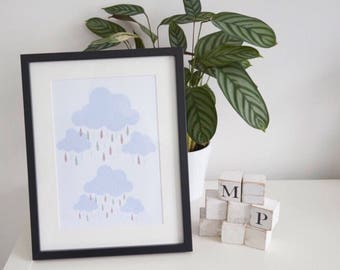 Cloud Print,Nursery decor,Nursery Print,Nursery wall art,Nursery art,Wall Art print,Home print,Kids room print,Home decor,Home wall art