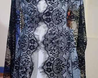 1.5metres * 40 cm lace CHANTILLY lace black mud Ref.1537