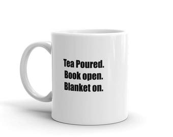 Tea Poured. Book Open. Blanket On. Coffee Tea Mug Cup