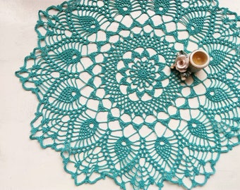 Vintage Crochet Doily Handmade Lace Lacy Doilies Wedding Decoration Home Decor Flower Mandala Dream Catcher Crocheted  Round Turquoise Doily
