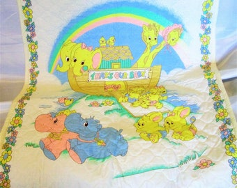 "Noah's Ark Baby/Toddler Quilt/Blanket. Yellow Dotted Quilted Backing. Rainbow. Animal Pairs. 34x42"" Baby Shower Gift. Handmade.  Cotton."