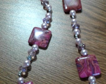 Large pink and gray stone necklace