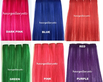 "12"" Multi Color Clip-in 100% Human Hair Extensions 4pcs for highligts streaks USA"