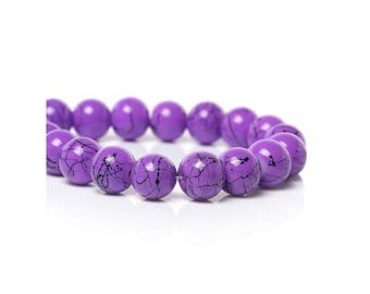 10 purple wire, round shaped glass beads 10mm