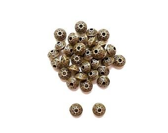 100 polka dots 6mm Antique Bronze round beads