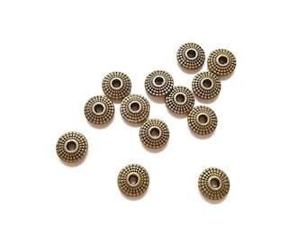 15 dots 8mm Antique Bronze round beads