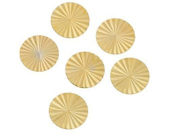 5 cabochons gold striped 12mm Dia.