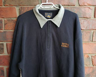 1990s Nautica Marine Denim Sweater Vintage Nautica Quarter-Zip Polo Sweatshirt
