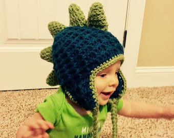 Dinosaur Beanie Crochet Pattern (sizes: Adult, Child/Youth, Toddler, Infant)