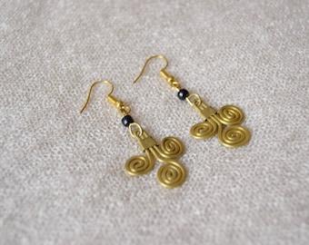 Minimalist Dangle Earrings & Necklace | African Tribal Jewelry | beads, brass | gift set | handmade by Maasai women in Kenya