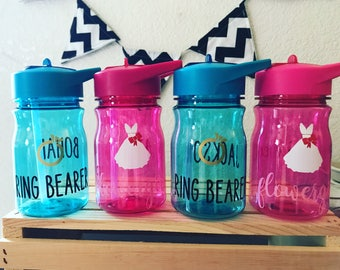 Flower girl and ring bearer kids water bottles // ring security // petal patrol // wedding party // bridal party // wedding // kids cup