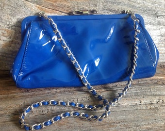 Vintage Designer Royal Blue Patent Leather Shoulder Bag from Baci Italy. Purse/clutch/w wning bag/baci/italy/blue
