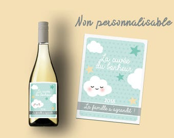 """Etiquette bouteille vin ou champagne """"La famille s'agrandit"""""""