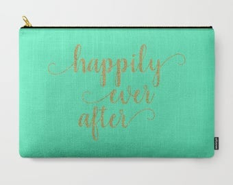 Happily Ever After, Wedding Makeup Bag Large, Gift For Wife Birthday Gift, Gift For Bride From Groom, Cosmetic Bag Large, Toiletry Bag Women