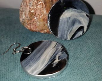 Lightweight Faux Stone Granite Marble Earrings  black and white Natural Boho look