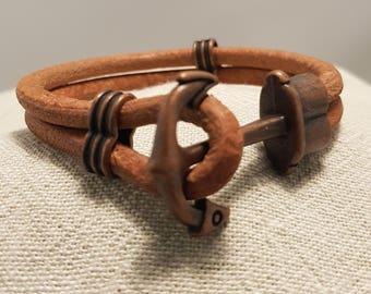 Leather bracelet; Tan leather bracelet; Anchor bracelet; Unisex bracelet; Round leather bracelet;