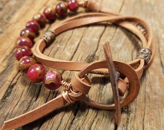 Leather bracelet; Unisex bracelet, Agate bracelet; Wirework bracelet; Copper bracelet; Wrap bracelet; Red bracelet; Boho bracelet; Bohemian