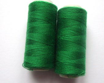 Set of 2 spools of thread for sewing 180 m - Green