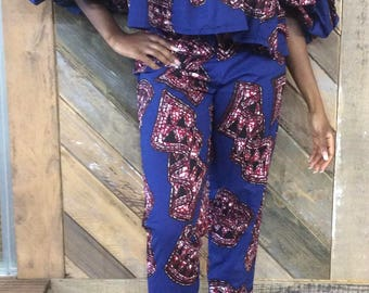 Ankara off Shoulder Top & Matching Cropped Trousers