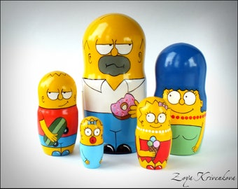 "Nesting doll Matryoshka Geek Gift ""The Simpsons"" 5 pcs Homer, Marge, Bart, Lisa, Maggie/ Матрешка Симпсоны"