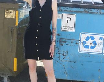 90s Black Velvet Button Down Dress
