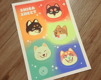 Shiba Sheet – Weatherproof Vinyl Sticker Sheet with 5 Stickers