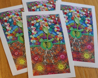 Blossom Flower Colorful Nature Sticker - Unique and Colorful Sticker Art - Seed Sprouting into Flowers - Psychedelic Art Sticker