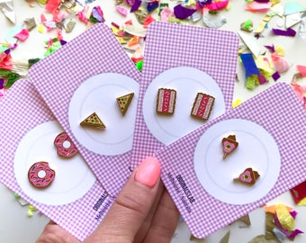Iconic Australian Food Enamel Earrings - Fairy Bread, Donuts, Iced Vovos and Bubble O Bills