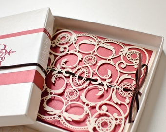 Wedding Invitation, Luxury LaserCut, Monaco Inspired, Marsala, Serenity, Pion