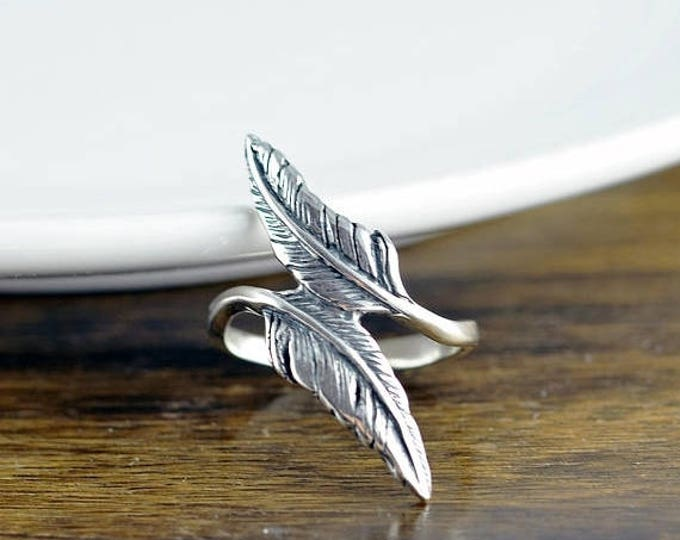 10% off SALE Sterling Silver Double Feather Ring - Feather Ring - Boho Rings - Bohemian Ring - Gypsy Ring - Rings for Women - Fashion Ring