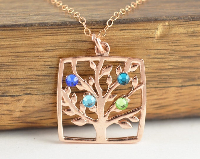 Rose Gold Family Tree Necklace - Mother's Necklace - Birthstone Necklace - Birthstone Jewelry - Grandmother Necklace - Mothers Day Gift