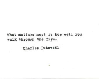 Charles Bukowski hand typed vintage typewriter quote