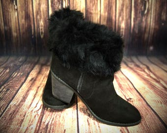 Ladies Faux Fur Boot Toppers, Boot Cuffs in Black