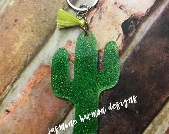 Cactus Acrylic Keychain / Cactus Gift / Glittered Keychain