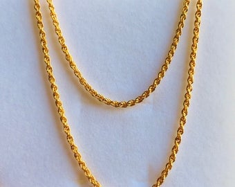 "18""  22k gold 916 gold slim rope chain necklace sz1"