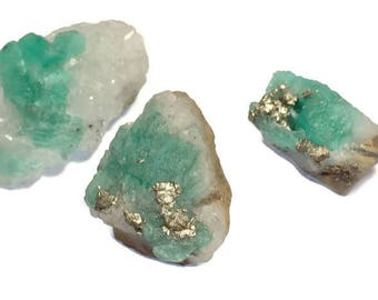 55 - Natural Raw Colombian Emerald Specimen - (Set of 3) Natural & Untreated