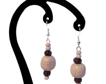 White and dark brown wooden earrings