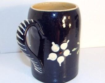 Vintage Blue with Flowers Alsace France Earthenware Mug