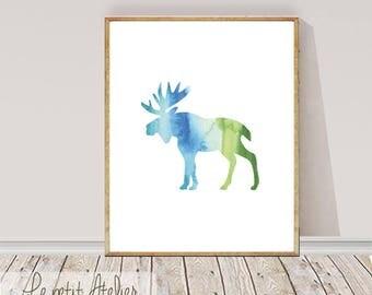 Moose Print, Watercolour Wall Art, Modern Minimalist Painting,Moose, Brush Stroke, Printable Digital Download, Large Poster, Ink