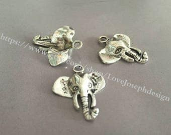 wholesale 100 Pieces /Lot Antique Silver Plated 23mmx26mm elephant Charms (#018)