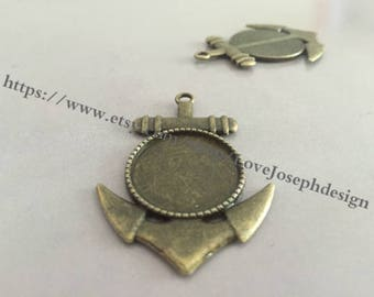 wholesale 20 Pieces /Lot Antique Bronze Plated 20mm anchor cabochon blanks trays charms (#0229)