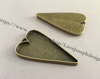 10 Pieces /Lot Antique Bronze Plated 53mmx29mm cabochon love heart bezel trays charms (#0311)