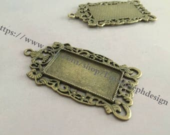 wholesale 20 Pieces /Lot Antique Bronze Plated 19mmx38mm rectangle cabochon trays charms
