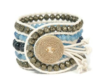 Boho Dion * 5 strand Statement Wrap Bracelet. Boho Style. Bohemian Jewelry. Semiprecious stones. Gift for her. Unique Design.